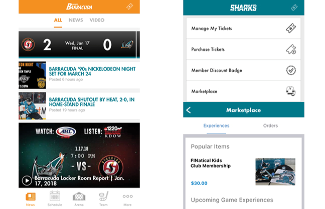 Sharks' App Gives Access To Teams, Facilities